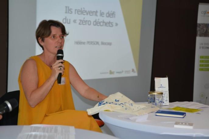 Hélène Person, responsable innovation et marques de Biocoop, a témoigné de l'engagement de l'enseigne en faveur de l'objectif zéro déchets.
