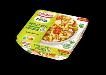 Les nouvelles gammes de salades de pâtes Pause Pasta et Saveurs Pasta intègrent des protéines de volailles et de porc d'origine France.