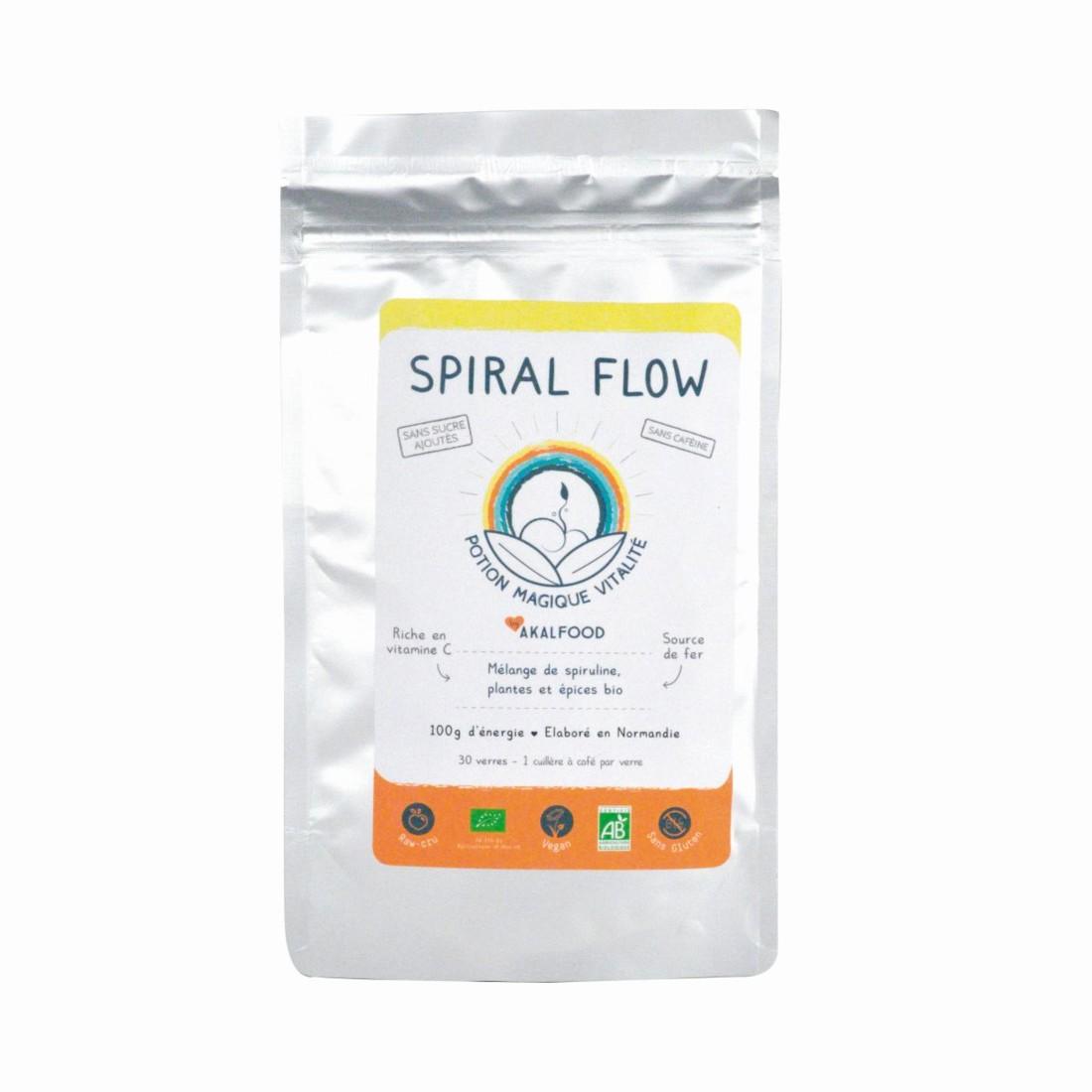 A mélanger dans un jus, Spiral Flow développé par Akal Food est une boisson bio à la spiruline, source de fer et riche en vitamine C. Trophée Nouvelles tendances de consommation.
