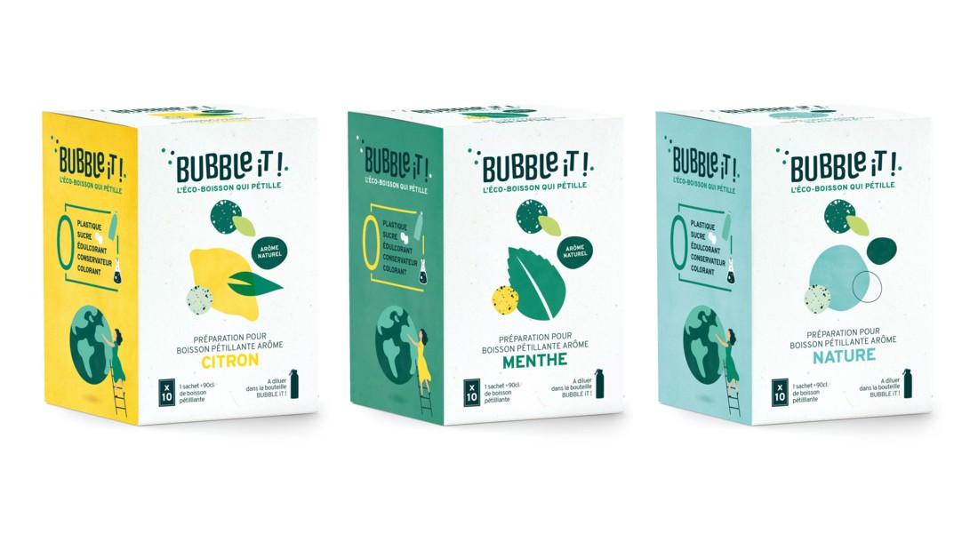 BUBBle iT! est une éco-boisson pétillante, disponible en version nature ou aromatisée.