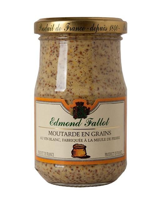 La moutarde aux graines et au vin blanc de Bourgogne IGP de la moutarderie Fallot (Côte d'Or).