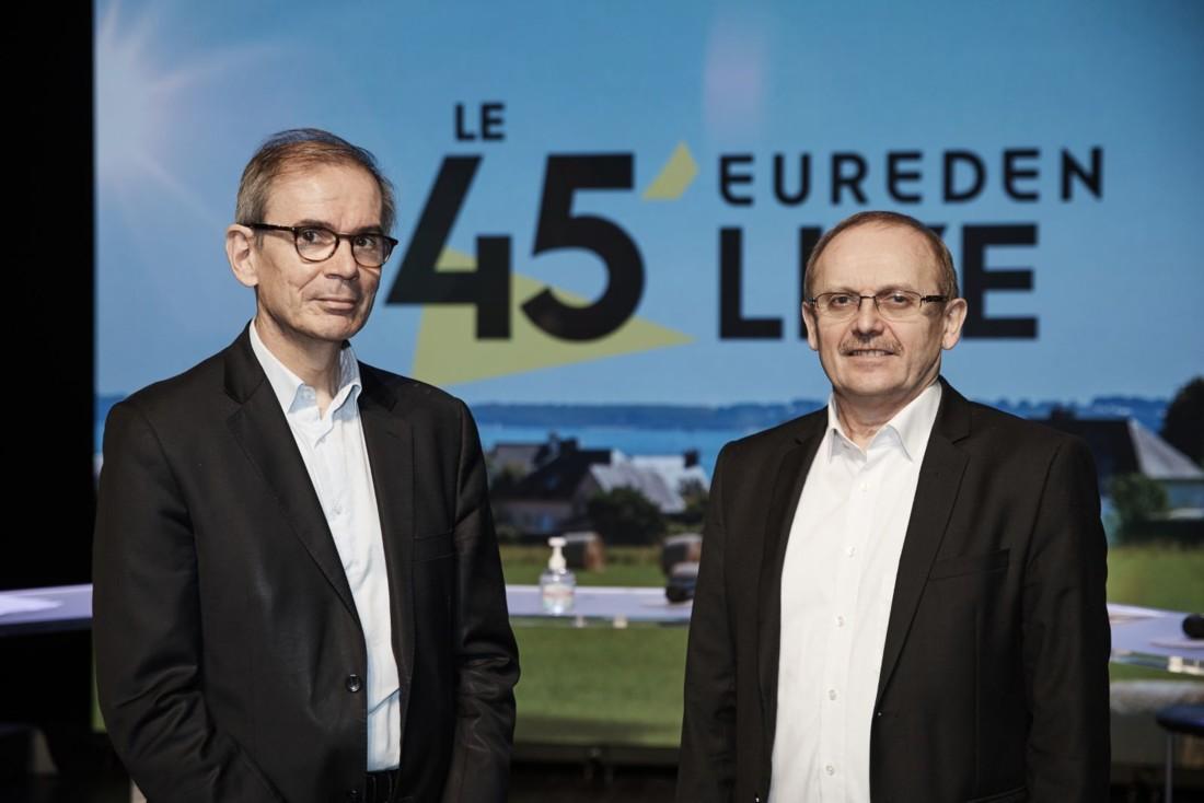 Alain Perrin, directeur général, et Serge Le Bartz, président du groupe coopératif Eureden, né le 1er janvier 2021 de la fusion des coopératives bretonnes Triskalia et Cecab (d'aucy).