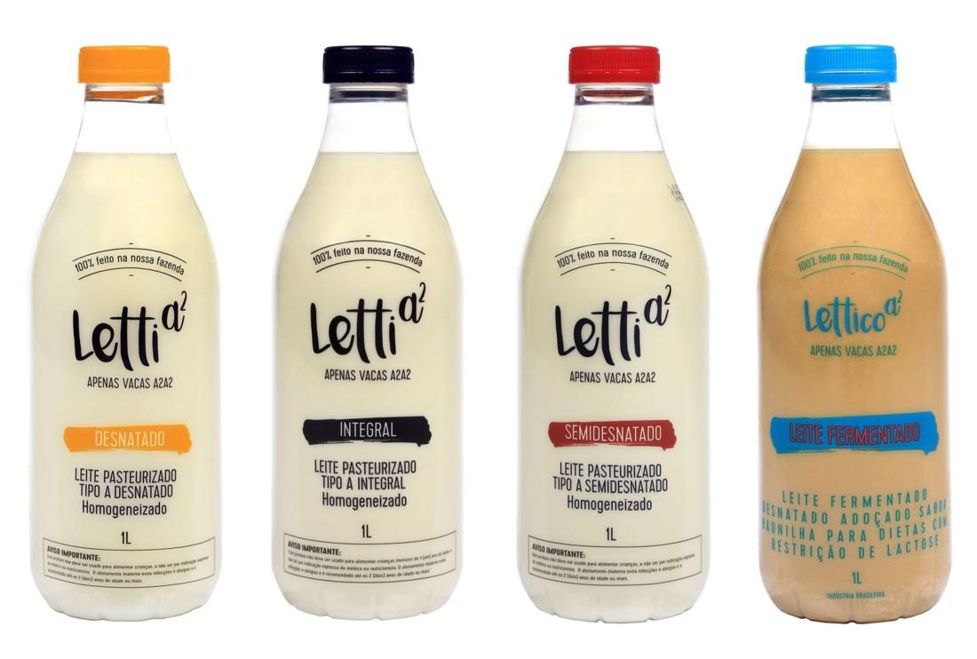 La marque brésilienne Letti a décliné sa nouvelle bouteille PET transparente avec bouchon-à-vis sur plusieurs de ses références de laits frais pasteurisés, de laits fermentés et même de crème de lait liquide.