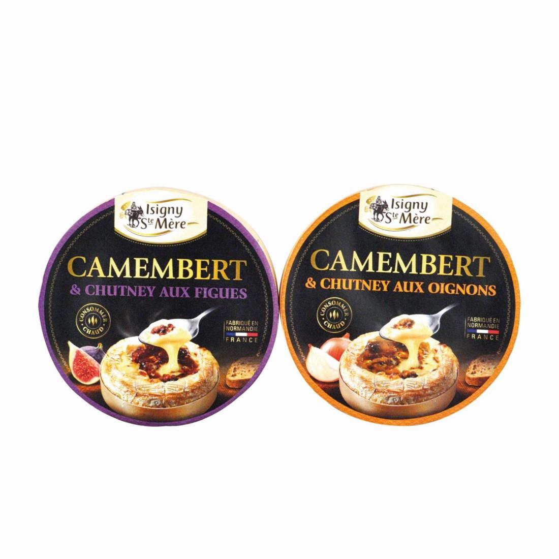 Avec ce camembert au chutney (oignons ou figues), la coopérative Isigny Ste-Mère élargit sa gamme de formages à déguster à chaud. Trophée Saveurs de Normandie.