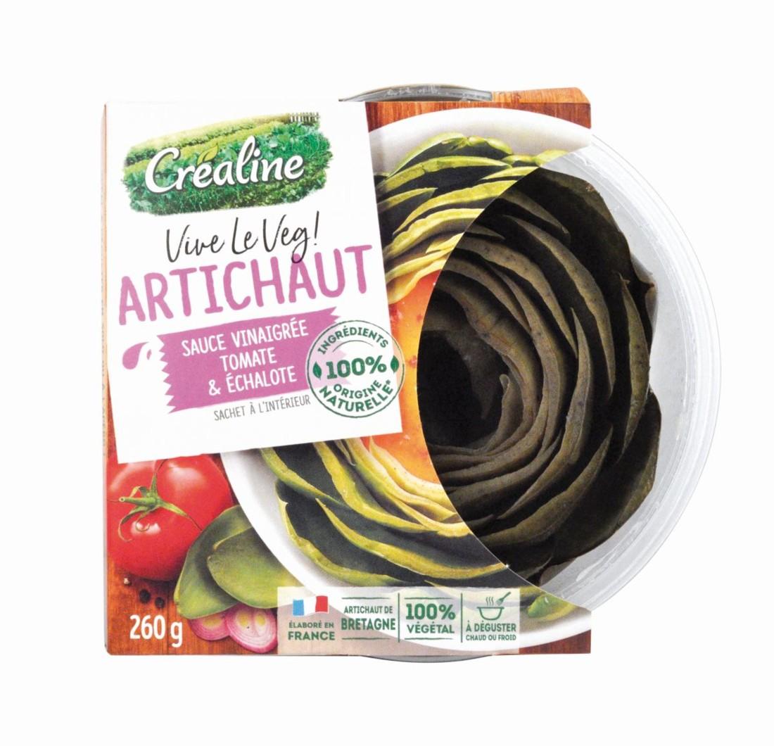 """""""Foin"""" ôté et cuit à la vapeur, cet artichaut Vive le Veg' ! de Créaline, présenté en bol individuel 200g, est prêt à déguster. Il est accompagné d'une sauce vinaigrée à la tomate et aux échalotes. Trophée Nouvelles tendances de consommation."""