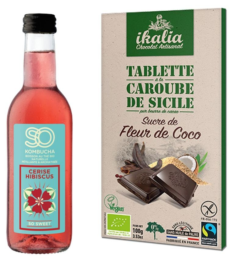 A Biofach, So Kombucha présentera sa dernière référence à la cerise, à la rose et à l'hibiscus, tandis que Saveurs et Nature mettra en avant sa tablette de caroube au sucre de coco.