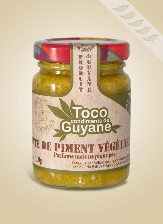 Le mélange de piment végétarien, à partir de variétés qui ne piquent pas, incluant du gingembre et d'autres épices, de la SAS Délices de Guyane.