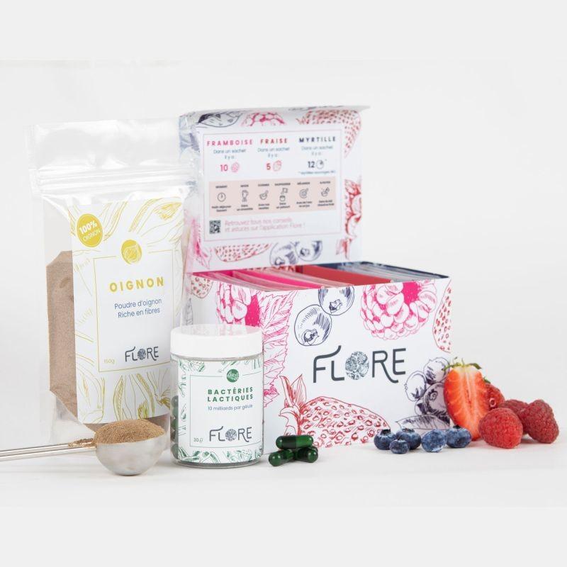 Flore commercialise des ingrédients pour booster le microbiote intestinal. La start-up propose un mélange de cinq bactéries lactiques, une poudre d'oignon et une poudre de fruits rouges, respectivement riches en fibres et polyphénols. Crédit photo Flore.