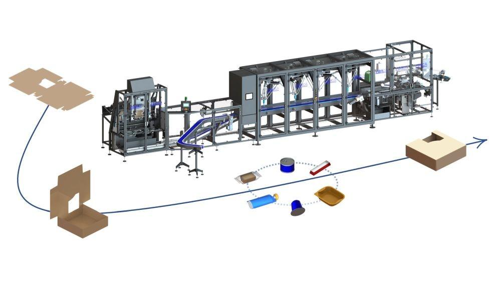 La nouvelle étuyeuse Top Load d'AMC2 permet de gérer des étuis en carton compact et nano ou micro- cannelé en solution loquetage, ce qui permet de diminuer l'impact écologique et financier en minimisant le collage. Avec une cadence maximale de 320 produits/min et 120 boites/min, elle offre une grande flexibilité sur la nature et la taille des formats d'étuis. L'étuyeuse comprend une formeuse bi-pistes, un chargement robotisé et une fermeuse trois rabats.